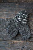 Wool socks on a wooden background Stock Photo
