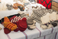 Wool socks. Woven wool socks for sale in fair in Bucharest, Romania Royalty Free Stock Photography