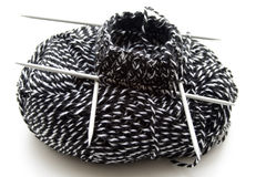 Wool for stockings. Thick wool with knitting needles for stockings Royalty Free Stock Photography
