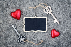 Wool texture hearts keys wood Royalty Free Stock Photography