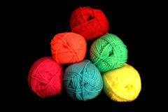 Wool. En threads in many colors Stock Photos