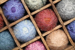 Wool yarn. In a wooden basket royalty free stock image