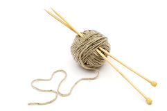 Wool yarn with bamboo needles Stock Images
