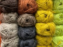 Wool yarn, natural color, ready for a hobby, knit. stock photos