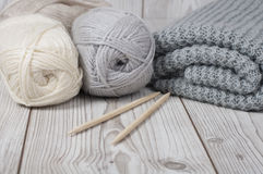 Wool yarn and knitted blanket Stock Photos