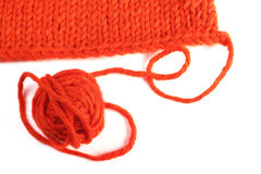 Wool yarn and knitted textile Stock Photos