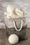 Wool yarn and knitting in fabric basket Stock Photography