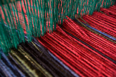 Wool yarn on loom Stock Photography