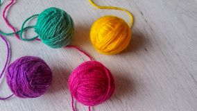 Wool yarn in rainbow colors Stock Photo