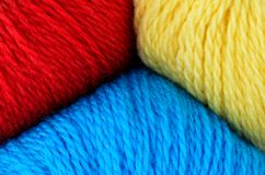 Wool yarn red yellow blue Stock Image