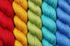 Wool yarn in twisted skeins Royalty Free Stock Image