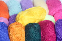 Wool yarn. In yellow, black, red, pink Royalty Free Stock Image