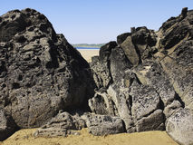 Woolacombe. Rocks on the beach devon coast woolacombe Stock Photo