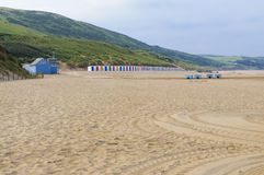 Woolacombe beach in the morning. Woolacombe is a seaside resort on the coast of North Devon, England, which lies at the mouth of a valley in the parish of Stock Photography