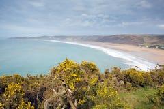 Woolacombe fjärd och strand Devon England Arkivbild