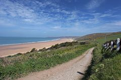 Woolacombe norr Devon kust royaltyfria bilder