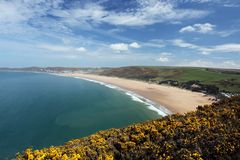 Woolacombe  North  Devon coast. Sunset Woolacombe Beach in North Devon. South West England. United kingdom Stock Photos
