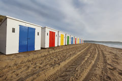 Woolacombe Sands Beach Huts. Beach huts in a row on Woolacombe Sands in North Devon, UK Stock Images