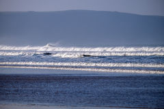 Woolacombe waves. The glorious on rushing blue sea of the Atlantic ocean Stock Photo