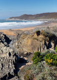 Woolacombekustlijn en strand Devon England en Morte-Punt Royalty-vrije Stock Foto