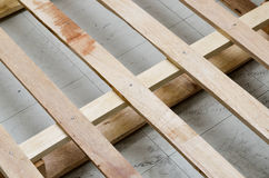 Woolden pallet for carton boxes Royalty Free Stock Photos