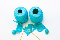 Woolen ball made of thread and knitting needles Stock Photos