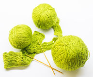 Woolen ball made of thread and knitting needles Royalty Free Stock Photography