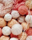 Woolen balls. Pink woolen balls, textured image, view from above Royalty Free Stock Photos