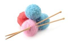 Woolen balls and knitting needles Royalty Free Stock Image