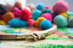 Woolen balls of yarn, tambour and embroidery. Stock Images