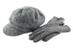 Woolen cap and gloves isolated on white background Stock Photo
