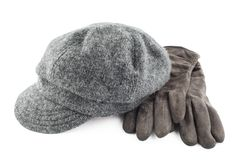 Woolen cap and gloves isolated on white background Royalty Free Stock Images