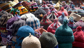 Woolen caps in oriental markets. The markets of colorful hats in Arab countries Royalty Free Stock Photo