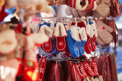 Woolen chaps on traditional Christmas market in Strasbourg. Alsace, France stock image