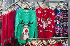 Woolen christmas sweater displayed at the Christmas market. LONDON, ENGLAND - December 17 , 2017 Woolen christmas sweater displayed at the Christmas market royalty free stock photography