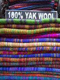 Woolen cloth of different colors in Nepali Bazaar Royalty Free Stock Photos