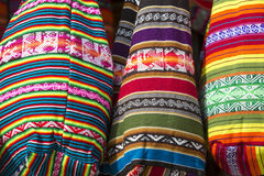 Woolen colored bag at the Andean market of Cusco, Peru. Handmade colored woolen bag for sale at the tourist craft market in Cusco. Peru Royalty Free Stock Photo