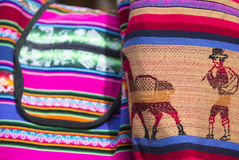 Woolen colored bag at the Andean market of Cusco, Peru Stock Photography