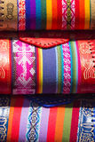 Woolen colored bags at the Andean market of Cusco, Peru. Handmade colored woolen bags for sale at the tourist craft market in Cusco. Peru Royalty Free Stock Photography