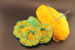 Woolen crochet flowers Royalty Free Stock Images