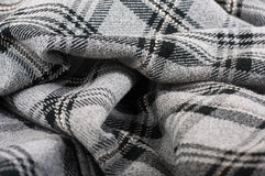 Woolen fabric in gray with black Stock Photography