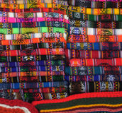 Woolen garments. (mostly ponchos) for sale in a Peruvian market Royalty Free Stock Photography