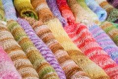 Woolen gentle folded shawls (scarfs) Stock Photography