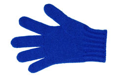 Woolen glove. Blue woolen glove isolated on white Stock Photo