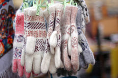 Woolen gloves. On the counter Royalty Free Stock Image