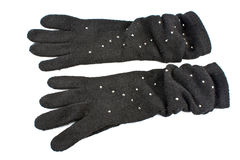 Woolen gloves with gems Royalty Free Stock Photos