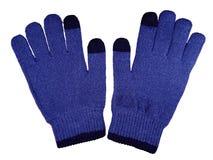 Woolen gloves isolated- dark blue Royalty Free Stock Photos