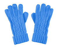 Woolen gloves isolated - light blue Royalty Free Stock Photos