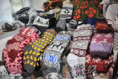 Woolen hand knitted clothes in Tallinn,Estonia Stock Photography