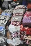 Woolen hand knitted clothes in Tallinn,Estonia Stock Photos